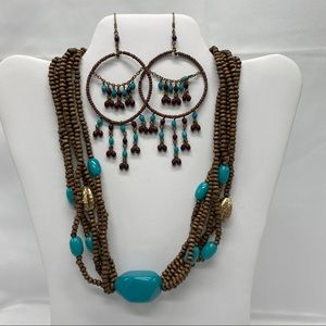 Jewelry, Costume Turquoise and Brown Beaded